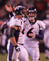 (CS1651) Jay Cutler celebrates with Casey Wiegmann after a touchdown by Eddie Royal in the fourth...