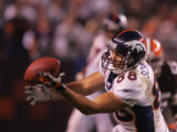 (CS1721)Tony Scheffler bobbles a pass in the fourth quarter of the Denver Broncos against the...