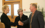 Representative Elect, Carole Murray, R - Castle, Left, greets Representative Kent Lambert, R -...