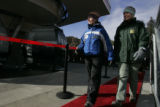 Vail Resorts CEO Pat Campbell, left, walks the red carpet as  Keystone Ski Resort not only opened...