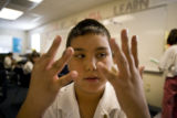 Jaima Apodaca, 10 (cq) counts during class at KIPP Sunshine Peak Academy, 375 S. Tejon St., in...