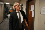Defense attorney Kallman Einoff (cq) talks to the media after  Francis Hernandez (cq) appeared in...