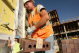 MJM924  Charles Cruz (cq) of Glover Masonry works on the Auraria Science Building Addition and...