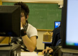 Robert Grajeda, 17, (cq) works in a computer class at Lincoln High School, 2285 South Federal...