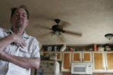 (138)  Disabled veteran Richard Kellar, of Parker, sits for a portrait in his home in Parker,...
