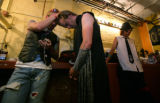 "Prepping for their performances twins 'Stryker' Ryan Layman and 'Big Rig"" Randy Layman, 27 of..."