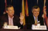 Colorado Governor Bill Owens  and Secretary Mike Johanns,U.S. Department of Agriculture, left to...