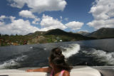 (PG04107) Skyler Scott, 18, and her father, David, ride around Grand Lake on their boat on...