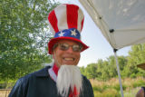 Volunteer Cliff Dodge (cq) dressed-up as Uncle Sam during an old-fashioned July 4th celebration...