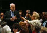 MJM854  Georgette Haddard, 70, of Golden, Colo. asks a question of presidential hopeful, John...