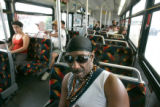 BG_0021  Steve Maddox, 60, CQ, rides the 0(zero) RTD bus line almost every day in Denver, Colo....
