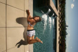 EJ0333 fashion.  Board shorts for women. LOCATION:  The pool at the Pinnacle at City Park South...