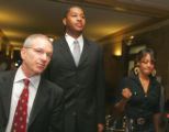 Denver Nugget player Carmelo Anthony (cq) ,center, walks into Denver District Court Tuesday June...