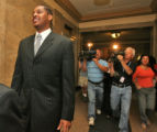 Denver Nugget player Carmelo Anthony (cq) with a big smile on his face as he left  Denver District...