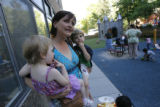 DM0517  Amber Shearer, 24, hangs out with her two-year-old twins Atticus and Damia Tyler at their...