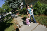 DM0581  Amber Shearer, 24, takes a walk with her two-year-old twins Atticus and Damia Tyler around...