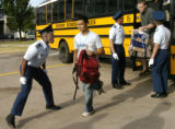 New cadets are yelled at as they get off the bus at the United States Air Force Academy  Thursday,...