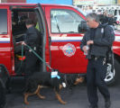 A Bloodhound is brought into the shooting location, Thursday evening, November 13, 20008,  Clinton...
