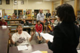 Stephanie Stolley (cq) who has a 7th grader at Rishel Middle School, participates in a discussion...