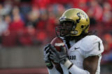 #1 Josh Smith (cq) of Colorado catches a kickoff return during the 1st half of the Colorado vs....