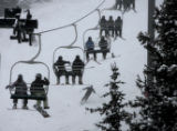 Skiers and boarders back Loveland Basin ,Monday morning, December 1, 2008, Loveland Basin. The...