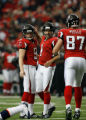 DM1888  Atlanta Falcons PK Jason Elam #1 celebrates a field goal in the second quarter at the...