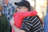DM2329  Roy Rice, father of Emily Rae Rice, gets a hug from Kim Jones, a paralegal for Killmer,...
