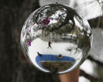Barbara Webster (cq), of Lakewood, is rflected in a tree ornament, while ice skating, Thursday...