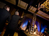 (Denver, Colorado, Nov. 15, 2008) Emcee Jim Benemann wants to fly from the top of a ladder, but...