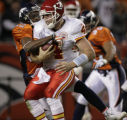 JPM1488 Denver Broncos Dre' Bly stops Kansas City Chiefs  quarterback Tyler Thigpen (4) on fourth...