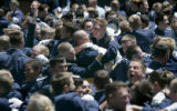 Air Force Academy cadets from the Class of 2005 celebrate during graduation ceremony held at Air...