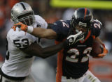 JPM687 Denver Broncos Peyton Hillis fights off a tackle by Oakland Raiders  Thomas Howard in the...