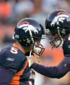 0627 Denver Broncos quarterback Jay Cutler (6) gives a stern talk to Denver Broncos PK Matt Prater...