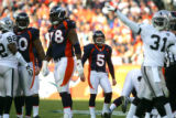 (091) Matt Prater misses a field goal in the second quarter of the Denver Broncos against the...