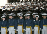 Air Force Academy Class of 2005 wait to march into Falcon Stadium from the south tunnel during...