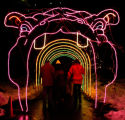 (DLM0081) -   People walk through the hippopotamus tunnel at the Zoo Lights display at the Denver...