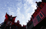 (0396) A Huskers fan cheers before the start of the second quarter of Colorado against Nebraska at...