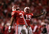 (1215) Rickey Thenarse yells after Nebraska took the lead on a 57-yard field goal by Henery in...