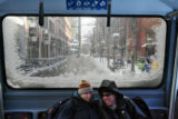 (from left) Jean Nickens (cq) and Dan Donaldson (cq) ride the 16th street mall bus as average...