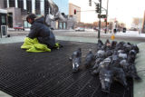 CODER101 - Michael Lantzy, 55, sits at 13th Avenue and Broadway in Denver where he spent the...