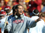 NY153 - **FILE **In this Oct. 4, 2008 file photo, Iowa State's head coach Gene Chizik reacts to a...