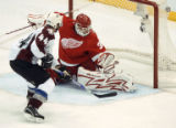MIPS106 - Colorado Avalanche's Jordan Leopold scores a goal on a penalty shot against Detroit Red...
