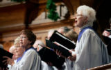(0480) Members of the Trinity Chancel Choir perform at Sunday service at Trinity United Methodist...