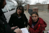Joanie Fresquez (cq) picks up her daugher Jeneva Armendez, 11, (cq) from school in Denver,...