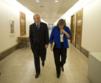 Interior Secretary-designate Sen. Ken Salazar walks with Presidential transition team member Trudy...