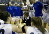 In Class 5A Continental League in the first half Highland Ranch's, head coach Caryn Jarocki gives...