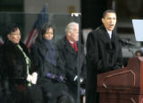 (106) President-Elect Barack Obama speaks to a crowd estimated at 30,000 at the War Memorial Plaza...