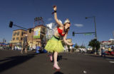 Elisabeth Williams (CQ), of Denver roller-skated around the LODO Music Festival in downtown Denver...