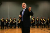 (0208) Governor Bill Ritter talks with the Windsor High School Band practices at Richard...