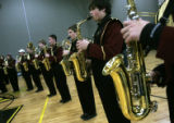 (0297) Mike Baldino, center right, plays saxophone as the Windsor High School Band practices at...